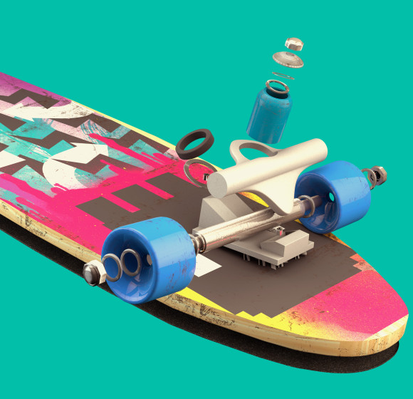 3D Skate Board and Photo Compositing